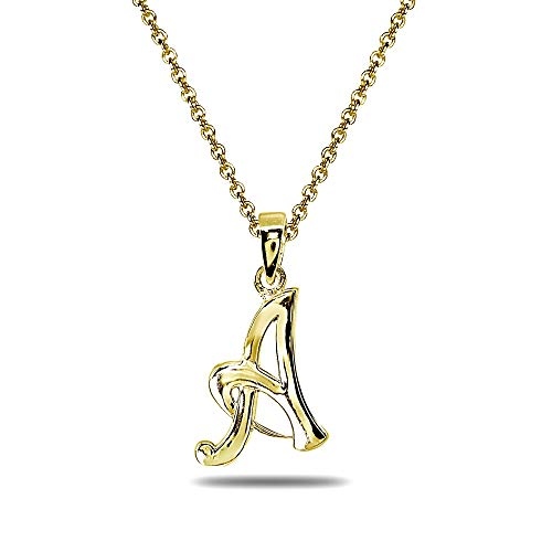 Yellow Gold Flashed Sterling Silver A Letter Initial Alphabet Name Personalized 925 Silver Pendant Necklace ()