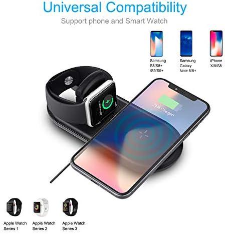 Cargador Inalámbrico Rápido , Sararoom Wireless Charger para iPhone X 88 Plus, Apple Watch Serie 2 3 , Base de carga plegable 7.5 W 10 W para
