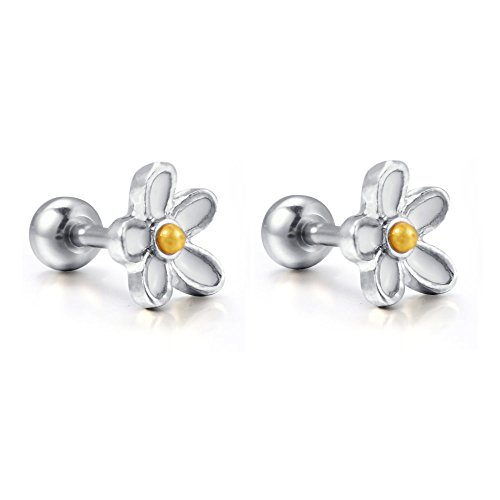 (Kokoma 2Pcs 16g Daisy Flower Cartilage Stud Earrings Surgical Steel Helix Tragus Earring Body Piercing Barbell Jewelry)