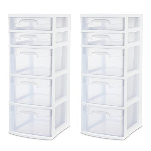 Sterilite 28958002 5 Drawer Tower White Frame with Clear Drawers 2Pack
