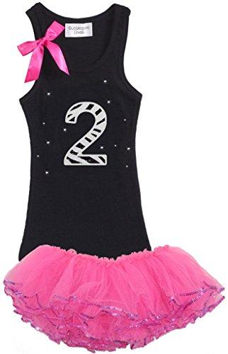 [Bubblegum Divas Little Girls' 2nd Birthday Zebra Pink Tutu Outfit 2T] (Jungle Outfit)