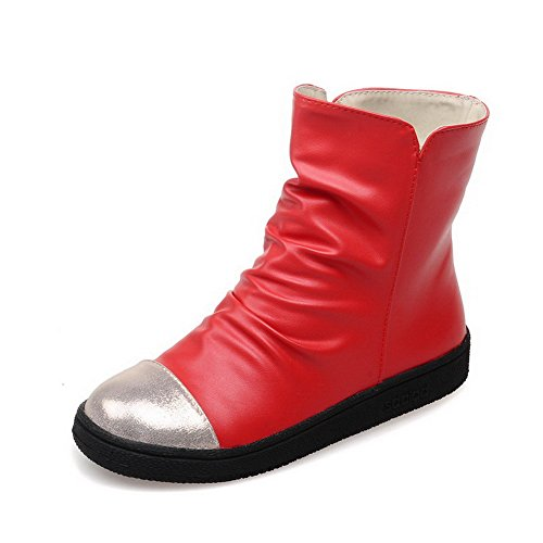 AgooLar Women's Round Closed Toe Pull On Pu Assorted Color Low-Heels Boots Red gwHbvCRwwn