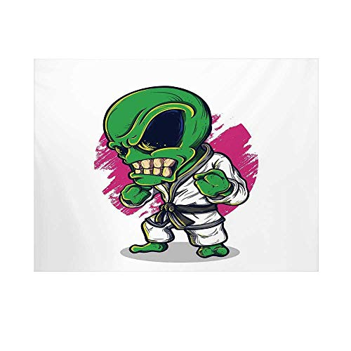 Outer Space Decor Photography Background,Alien Warrior Practicing Chinese Martial Art Karate Sports Children Decor Backdrop for Studio,8x7ft