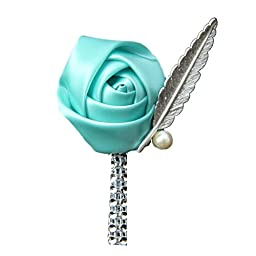 USIX 4pc Pack-Handmade Men\'s Lapel Satin Flower Pearl Decor Boutonniere Pin for Suit Wedding Groom Groomsmen Brooch Rose Boutonniere (Tiffany Blue)