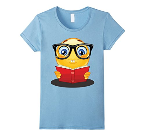 Womens Nerdy Reading Emoji Funny T-Shirt Cute Book Lover Gift Small Baby Blue