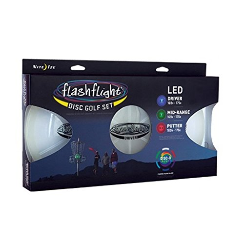 Nite Ize Flashflight Disc Golf Light Up LED 3 Disc Set - Includes Driver, Mid-Range, (Flashflight Led Frisbee)