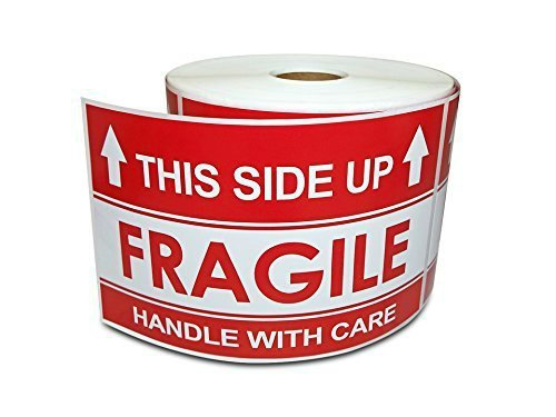 "3"" X 5"" This Side Up Arrow - Handle With Care, Warning Shipping Labels (1 Roll, 500 Stickers/Roll)"