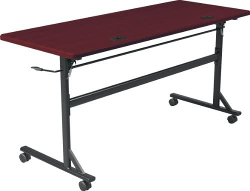 MooreCo Essentials Flipper Training Table 60×24 Mahogany Top Black Base