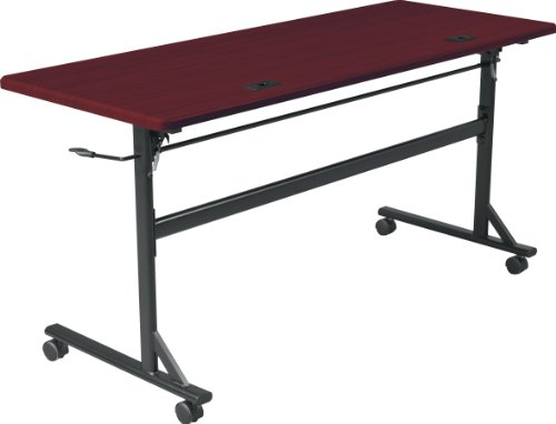 MooreCo Essentials Flipper Training Table 60x24 Mahogany Top Black Base