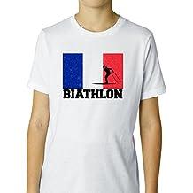 Hollywood Thread France Olympic - Biathlon - Flag - Silhouette Boy's Cotton Youth T-Shirt