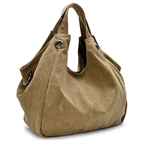 Tiny Chou, da donna, in tela, stile Vintage, stile semplice borsa Hobo Tote-Borsa da spalla, tracolla Kaki (Cachi)