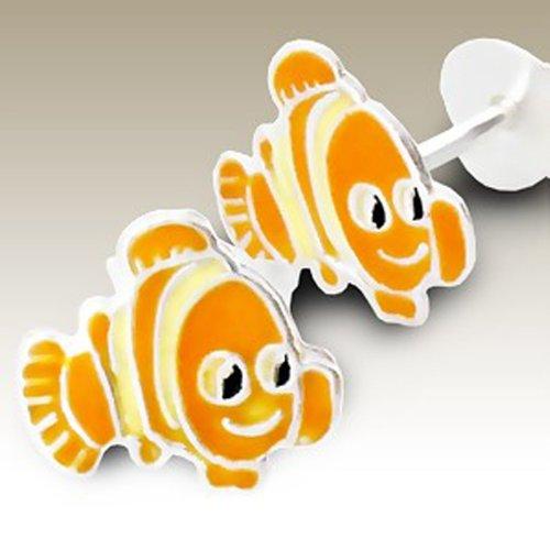 (Clown Fish Earrings Studs Girl's Silver Earring, Stering Silver, (E965ha))