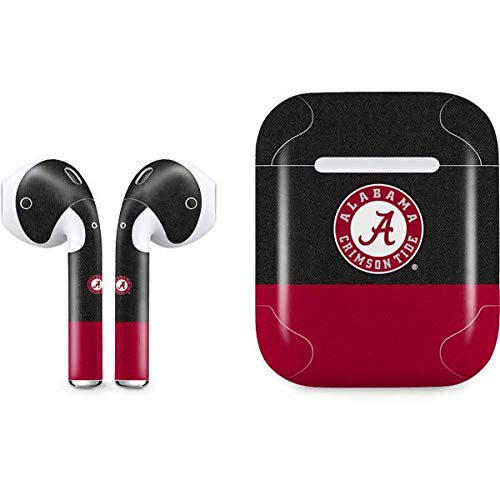 Skinit Alabama Crimson Tide Logo Apple AirPods Skin - Officially Licensed College Audio Sticker - Thin, Case Decal Protective Wrap for Apple AirPods Gen 1