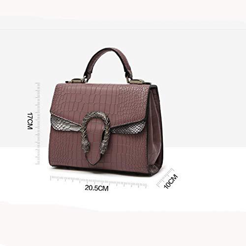 con Textura YT Cabeza de Serpiente Cuero Bolsos 17 Bandolera de de Y 20 cm a 10 Bolso Purple 5 PU Capa Dama Tela wqP7n