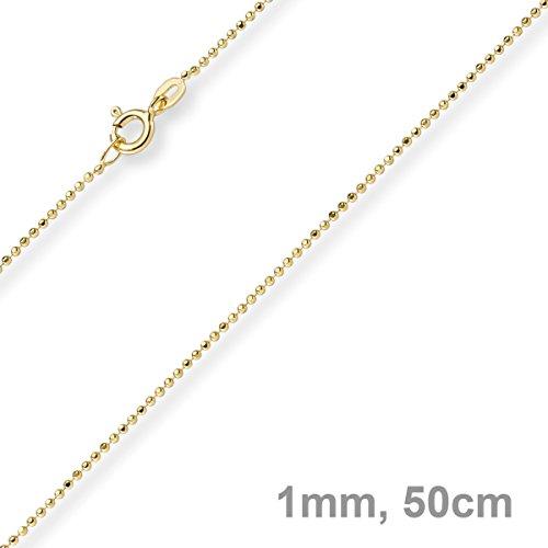 1mm Chaîne Boule diamanté Chaîne Or Collier en or jaune 585, 50cm