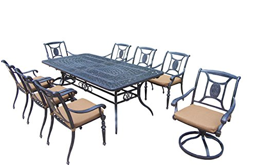 Oakland Living Victoria 9-Piece Set with 84 to 126-Inch by 44-Inch Extendable Table, 6 Stackable Chairs, 2 Swivel Rockers and Sunbrella - Swivel Victoria Chair Rocker