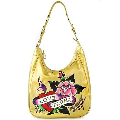 Amazon.com  Ed Hardy Belinda Eternal Love Hobo Bag - Gold  Shoes 3b4628fdb54e4