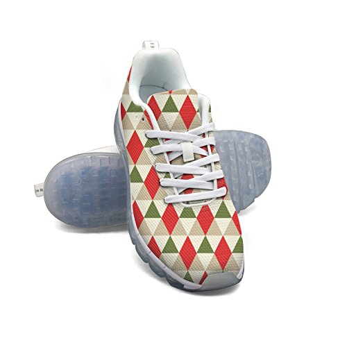 FAAERD Christmas Geometric Pattern Men's Breathable Mesh Air Running Shoes