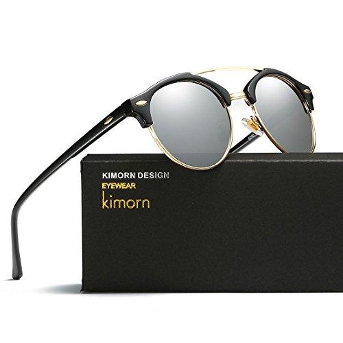 AE0504 Unisex Gemelas Negro Retro Sol Rimless Polarizado amp;plata Diseño Vigas De kimorn Gafas Semi fnqFUPB