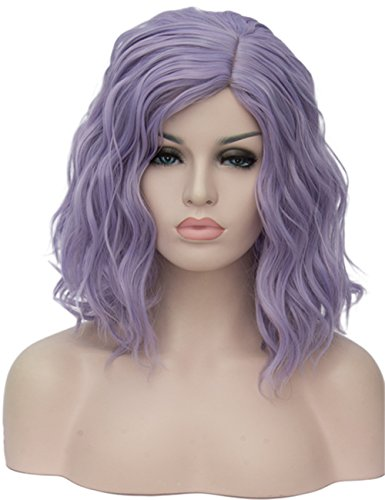 TopWigy Light Purple Cosplay Wig Medium Length Curly Body Wave Colorful Synthetic Wigs Costume Party Bob Full Women Wig (Light Purple 16