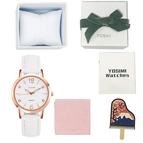 Yosimi Montre à Quartz analogique pour Femme avec Bracelet en Cuir Or Rose
