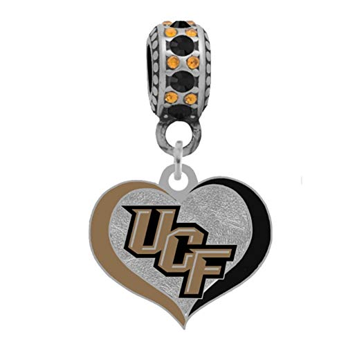 Final Touch Gifts Central Florida University Swirl Heart Charm Fits European Style Large Hole Bead Bracelets