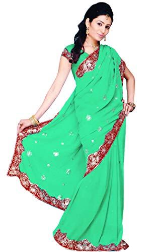 (Indian Trendy Women's Bollywood Sequin Embroidered Sari Festival Saree Unstitched Blouse Piece Costume Boho Party Wear (Mint))