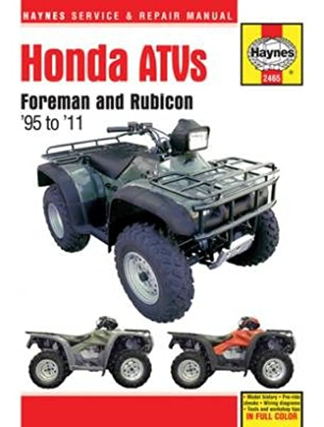Amazon.com: Haynes Honda Foreman and Rubicon ATVs Repair Manual  (1995-2011): AutomotiveAmazon.com