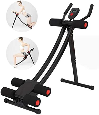 Ab Machine Exercise Equipment, Mosunx Foldable Sit Up Bench Adjustable Workout Bench Fitness Equipment for Home Gym, Abdominal/Hyper Back Extension Bench (Maximum Capacity 331 Pounds, Black – Red)