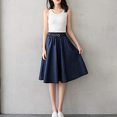 Women's Denim Skirt Plus Size Washed Style Elastic Waist Midi Aline Skirt