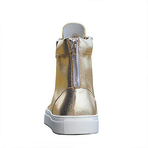 regalo 1 da cerniera il scarpe fidan marito Per del Oro pelle vera uomo casual e Stivali Natale uomo 24cm in del Dimensione 39 da con motociclista padre Oro EU da di 27cm 3 Colore Ud8aqAT