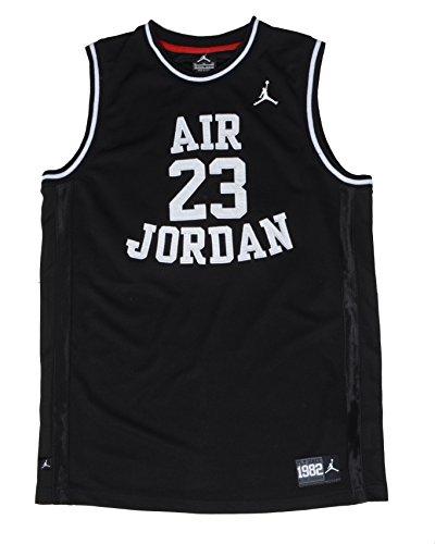 NIKE Air Jordan Little Boys' Youth Classic Mesh Jersey Shirt (6, Black/White)