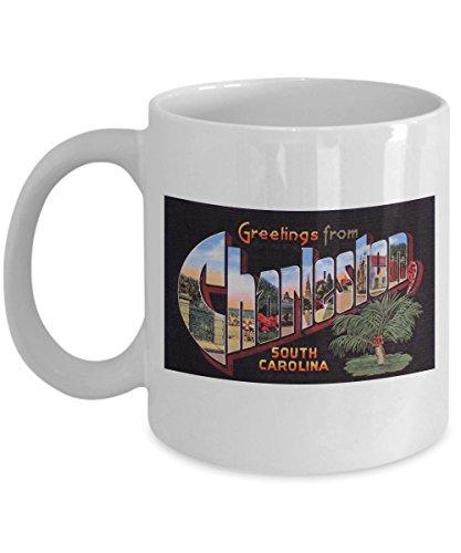 (Greetings from Charleston South Carolina, Vintage Large Letter Postcard Design: Ceramic Coffee Mug)