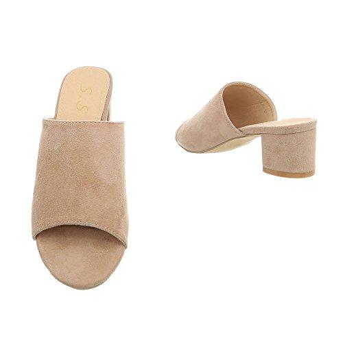Ital-Design Pantoletten Damenschuhe Pantoletten Pump Pantoletten Sandalen & Sandaletten Beige OD-47