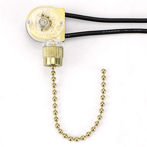 Hunter ZE-109 Zing Ear Fan Light Switch On-Off Speed with Pull Chain for Celing Fan Lights, Lamps and Wall Lights (Brass Pull Chain) -  RICHARDSON ANOINTING HANDS INC, 109-BRASS-1