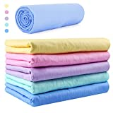 Car Wash Chamois Towel【Come with storage tube】Learja Premium Synthetic Deerskin Leather Auto Cleaning Drying Cloth (Blue, 25 x 17 inches, 1 pack, 5 available colors for you choose.)