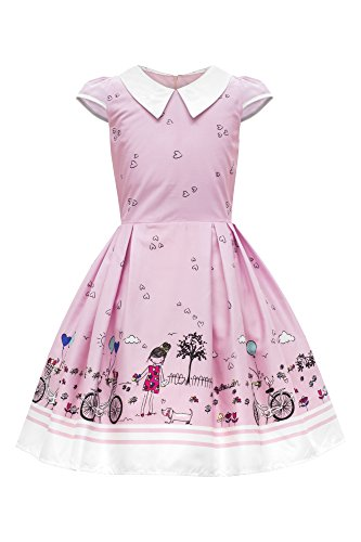 BlackButterfly Kids 'Olivia' Vintage Sunshine 50's Children's Girls Dress (Pink, 9-10 yrs)