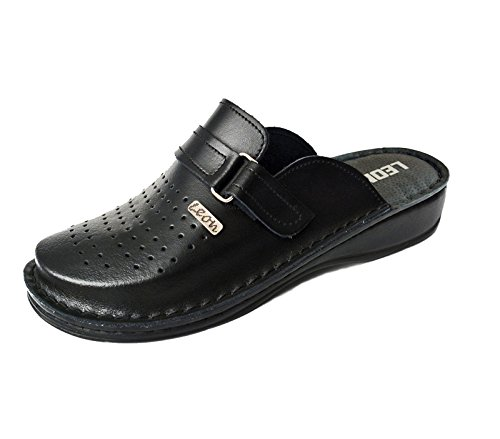 Leon V230 Comfort Leather Shoes Mules Mens, Black, Eu 44