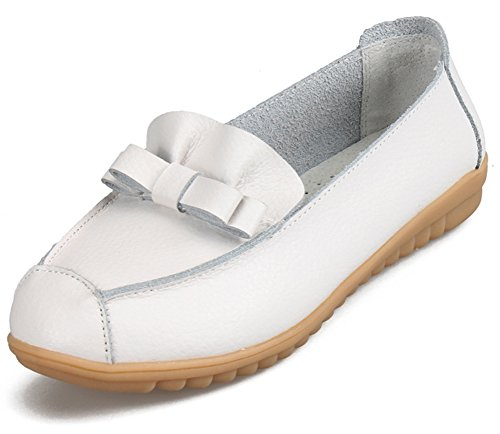Aisun Women's Comfy Bow Slip On Low Cut Loafers Shoes White x2L31B68