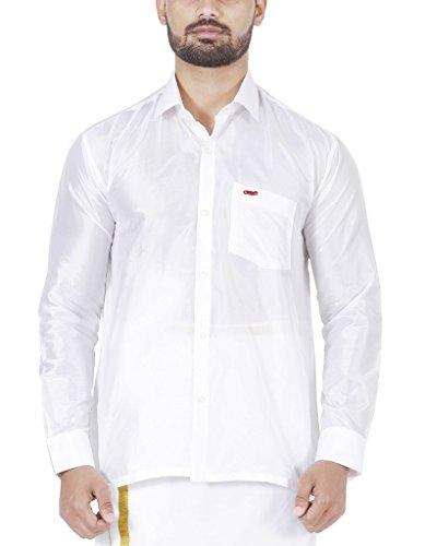 Indian Silks Men's Pure Silk Shirt (40, White)