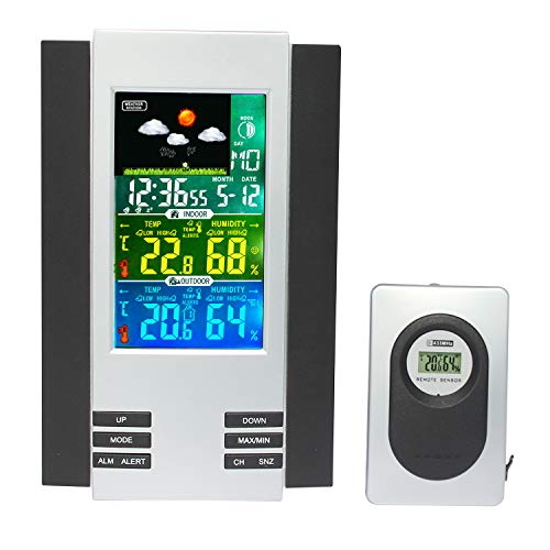JIMEI Wireless Weather Station with Indoor/Outdoor Wireless Sensor and USB Charge Port Weather Station Clock with Color Icons for Forecasting Temperature with Alerts Humidity ()