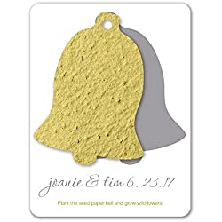 Bloomin Plantable Wedding Bell Wedding Favor with Seed Paper - Chartreuse (25 Card Set)