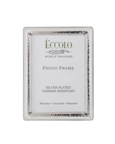 Eccolo World Traveler Silver Plated Frame, Holds 4 by 6-Inch Photo, Narrow - Photo Frame Hammered