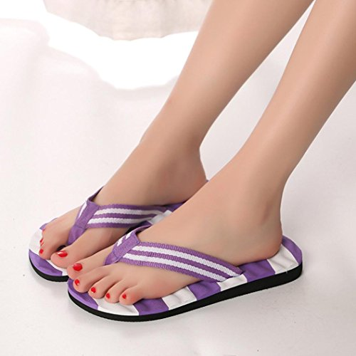 Hatop Slipper, Women Summer Stripe Sandals Slipper Indoor Outdoor Flip-Flops Beach Shoes Purple