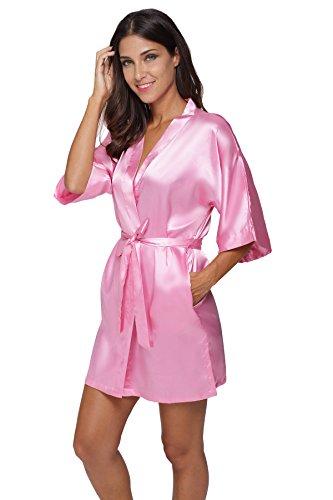 The Bund Women s Pure Colour Short Satin Kimono Robes with Oblique V ... 0c70b48be