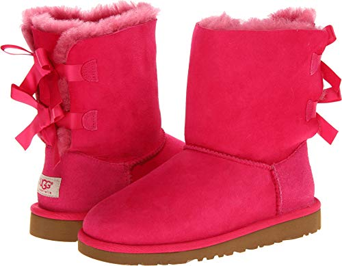 UGG Australia Bailey Bow Cerise Kids Boot (Pink,Size 6)