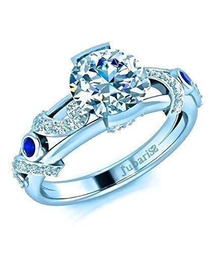 (Unique Diamond Engagement Ring Modern 1.28Ctw Round Brilliant Cut Tension Set Jubariss 14K White Gold Designer )