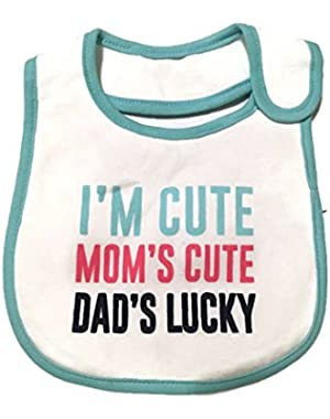 Baby Girl Carter's I'm Cute, Mom's Cute, Dad's Lucky Bib