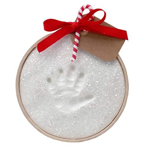 Child to Cherish Glitter Baby Handprint First Christmas Ornament Kit with Wooden Ring