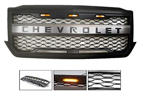 ORB For 2016-2018 Chevrolet Silverado 1500 Black Grille Mesh Grill Newest Stylish Front Bumper With 3 LED Lights